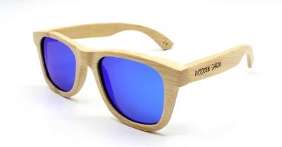 "LIKO (Natural) Bamboo Sunglasses ""Blue"""