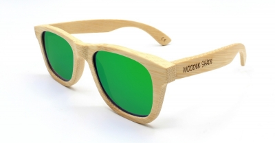 """LIKO (Natural) Bamboo Sunglasses """"Green"""""""