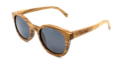 "KEOLA (Big Zebra Wood) Sunglasses ""Black"""