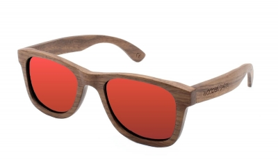 "LIKO Walnut Wood Sunglasses ""Red"""