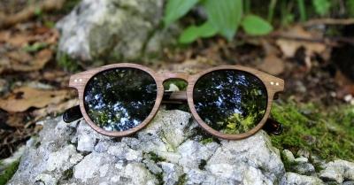 """MAYA Walnut Wood Sunglasses """"'Black"""""""