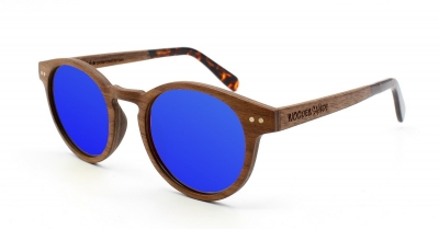 "MAYA Walnussholz Sonnenbrille ""Blau"""