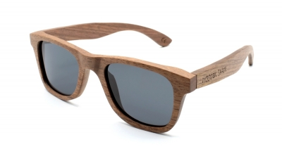"LIKO (SLIM) Walnut Wood Sunglasses ""Black"""
