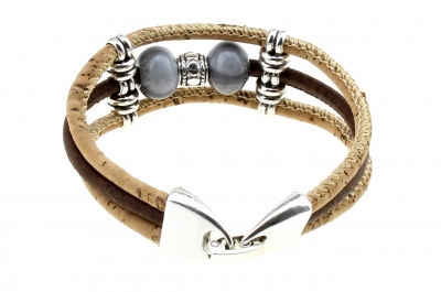 "Kork Armband #1 ""Grau-Silber"""