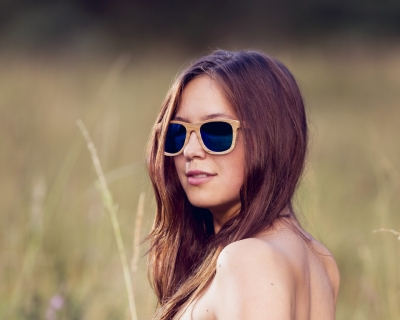 "KALEA (Kalama Edition) ""Blue"" - Zebra Wood Sunglasses"