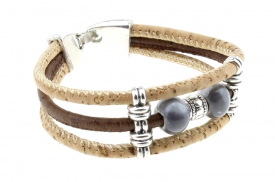 "cork bracelet #1 ""silver-gray"""