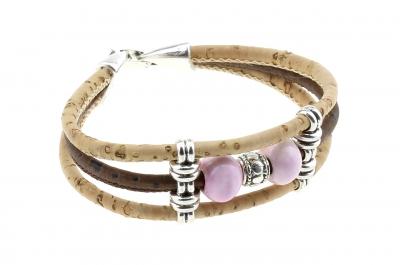 "cork bracelet #1 ""pink"""