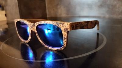 "MALIO (Kork) Skateboard Holz Sonnenbrille ""Blau"""