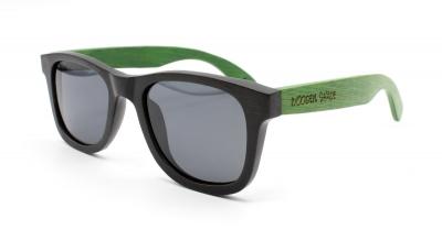 """LIKO (Schwarz / Grün) Bambus Sonnenbrille """"Schwarz"""""""