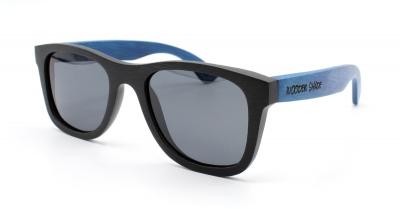 "KALEA (Schwarz / Blau) Bambus Sonnenbrille ""Schwarz"""