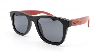 """KALEA (Schwarz / Rot) Bambus Sonnenbrille """"Schwarz"""""""