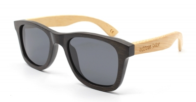 "LIKO (Black & Natural) Bamboo Sunglasses ""Black"""