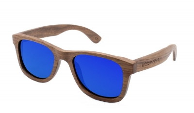 "LIKO Walnut Wood Sunglasses ""Blue"""