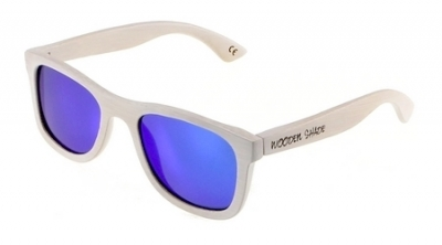 "KALEA (WHITE EDITION) ""Blue"" - Bamboo Sunglasses"