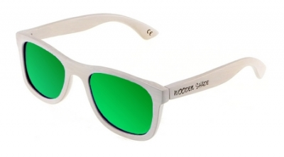 "KALEA (WHITE EDITION) ""Green"" - Bamboo Sunglasses"