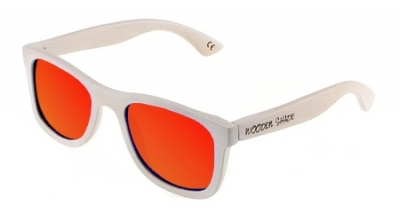 "KALEA (WHITE EDITION) ""Red"" - Bamboo Sunglasses"
