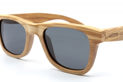 "LIKO (SLIM) Olive Wood Sunglasses ""Black"""