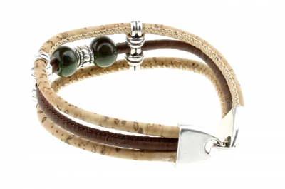 "cork bracelet #1""dark green"""