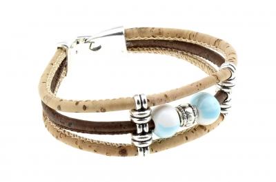 "cork bracelet #1 ""Light Blue"""