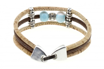 "cork bracelet #1 ""Light Blue"""