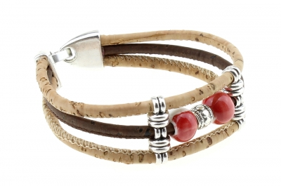 "cork bracelet #1 ""red white"""