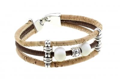 """cork bracelet #1 """"white"""""""