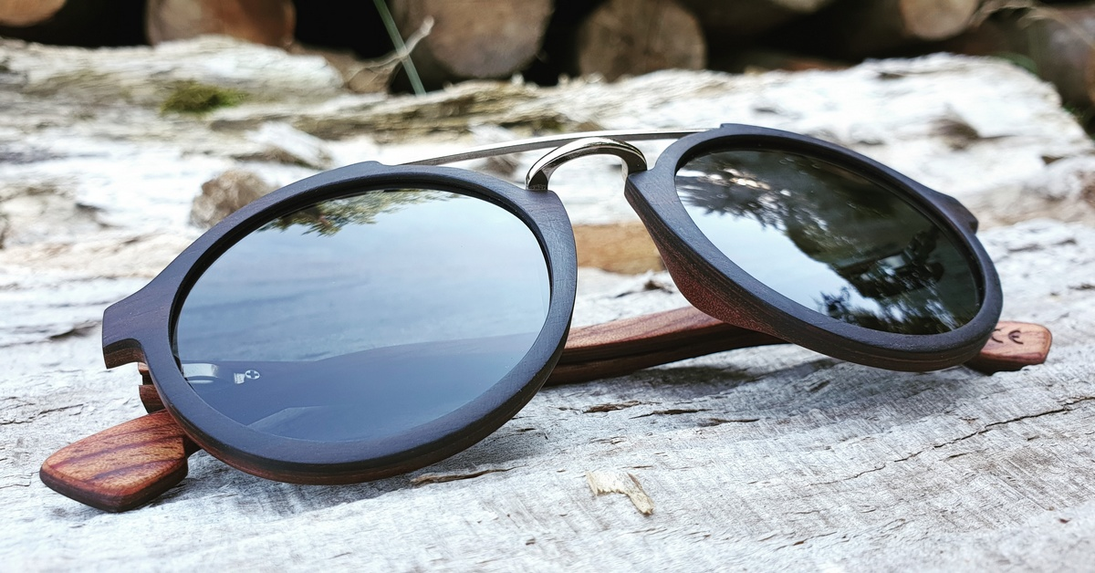 Ebony wood sunglasses with metal bridge - JARA - black lenses