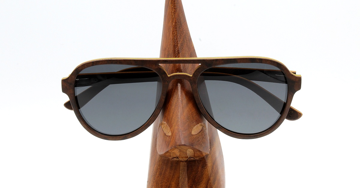 Aviator Wood Sunglasses - Black - Men & Women
