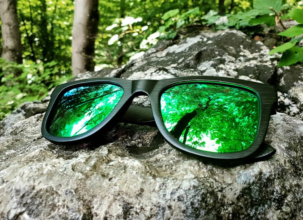 Black Bamboo Sunglasses | Green Mirror Lenses | WOODEN SHADES for Men and Women