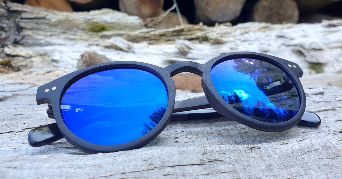 Wood sunglasses with blue lenses for men & women | Size Medium | Unisex | Polarized | UV400 Protection | WOODEN SHADE