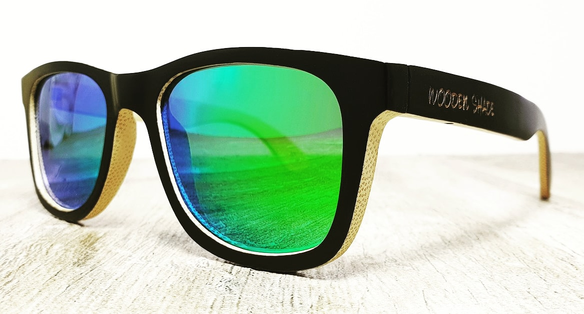 bamboo sunglasses green mirror lenses | wooden shade®